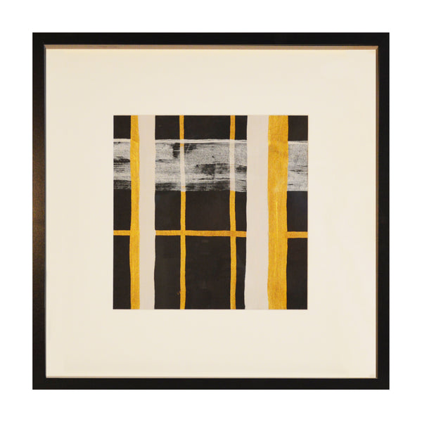 Painted Plaid in Metallic Gold - Acrylic Ink on Japanese Paper - Framed 20 x 20