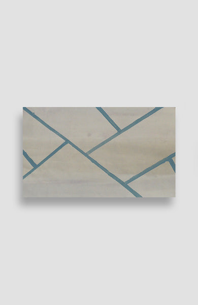 Teal Herringbone Brick - Acrylic Ink on Japanese Paper - 17 x 29