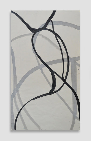 Gris Swirls - Acrylic Ink on Japanese Paper - 37 x 21
