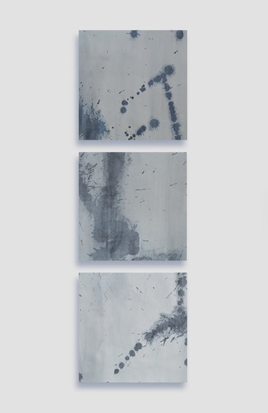 Gris Fluidity Set of 3 - Acrylic Ink on Japanese Paper - 10 x 10
