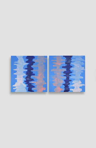 Custom Bleu Ikat Set of Two - Acrylic Ink on Japanese Paper - 10 x 10