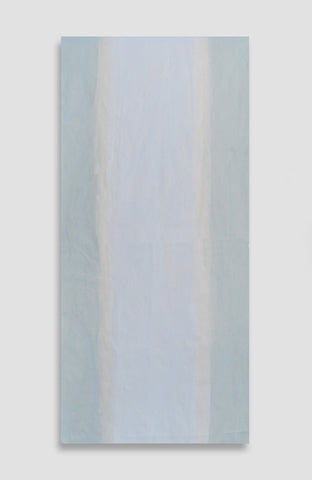 Bleu Pale Conte Stripe Fabric - Acrylic Ink on Silk Taffeta - 25 x 55