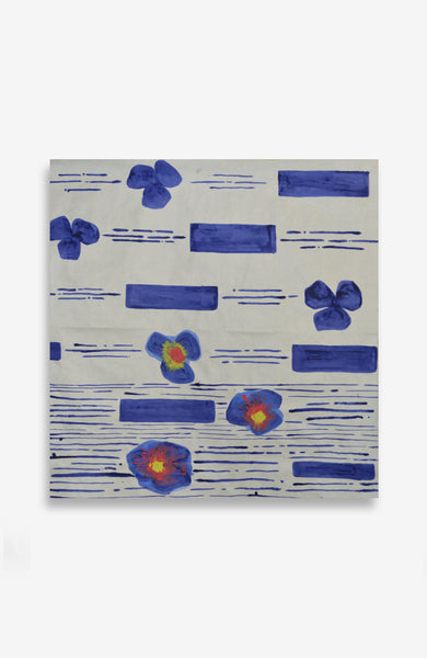 Bleu Floral Composition - ACRYLIC INK ON JAPANESE PAPER - 40 X 37