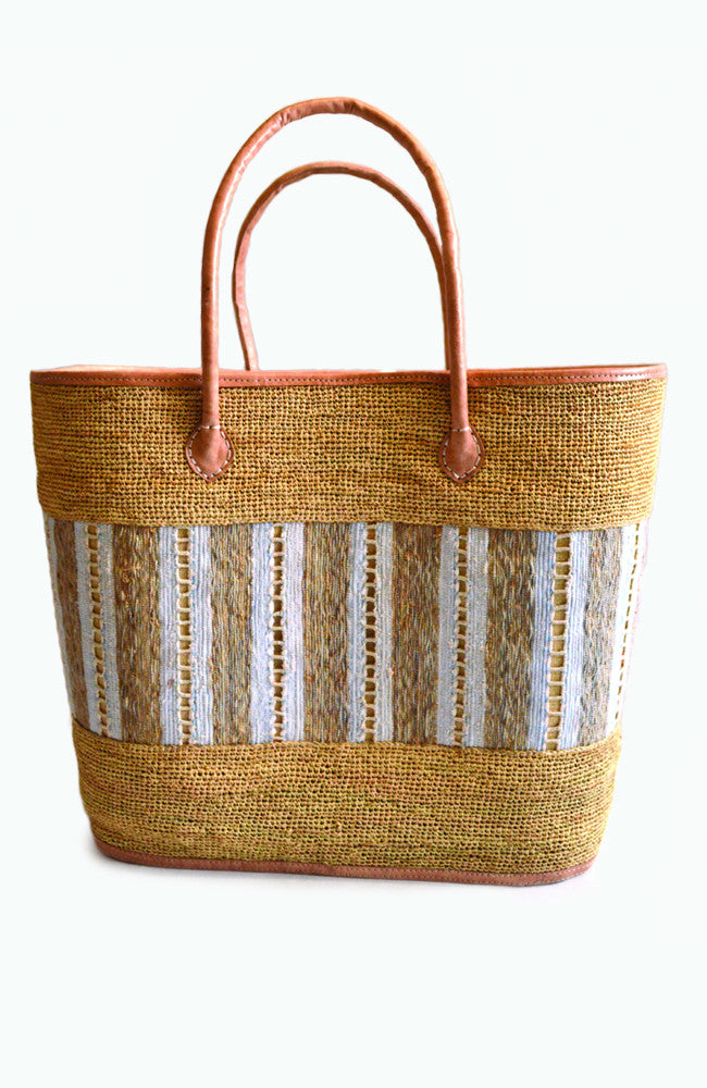 Oversized Basket Tote - Bleu Pale w/ Cream Lining
