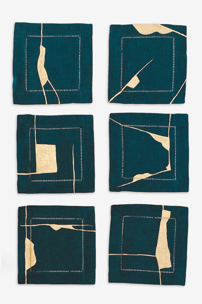 Peacock Blue Kintsugi Cocktail Napkins - Set of Six