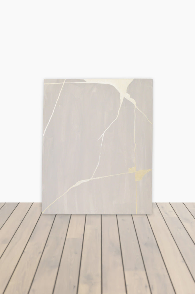White Gold Kintsugi Canvas 30 x 24