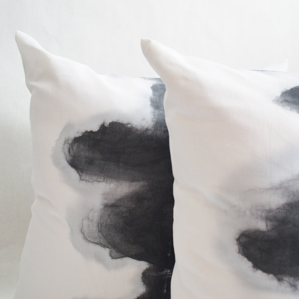 Ink Blot in Gris on Linen