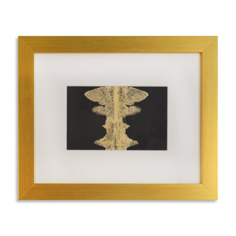 Ink Blot in Or - Acrylic Ink on Japanese Paper - Framed 12 x 14