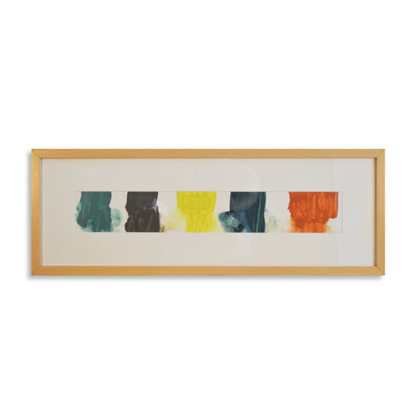 Horizontal Composition of Color - Acrylic Ink on Japanese Paper - Framed 11 x 30