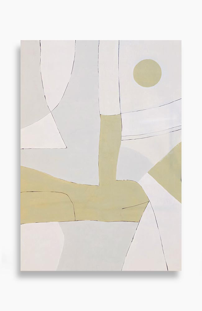 "Pale Gold Geo on Linen 81"" x 57"""