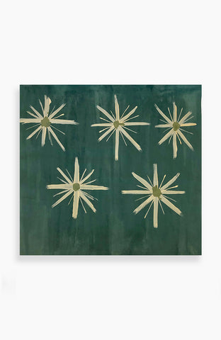 Emerald and Gold Blooms 37 x 35