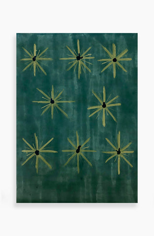 Emerald and Olive Blooms 38 x 53