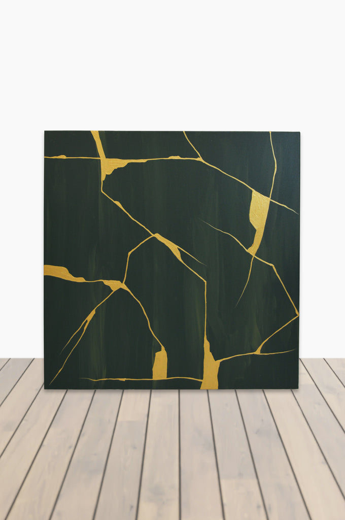 Gold Kintsugi Canvas 36 x 36