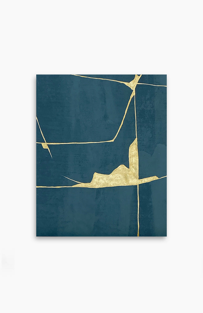 Teal and Gold Kintsugi 17 x 14
