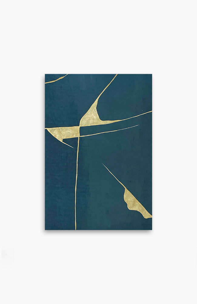 Teal and Gold Kintsugi 17 x 12