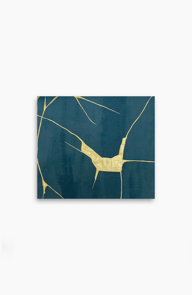 Teal and Gold Kintsugi 19 x 17