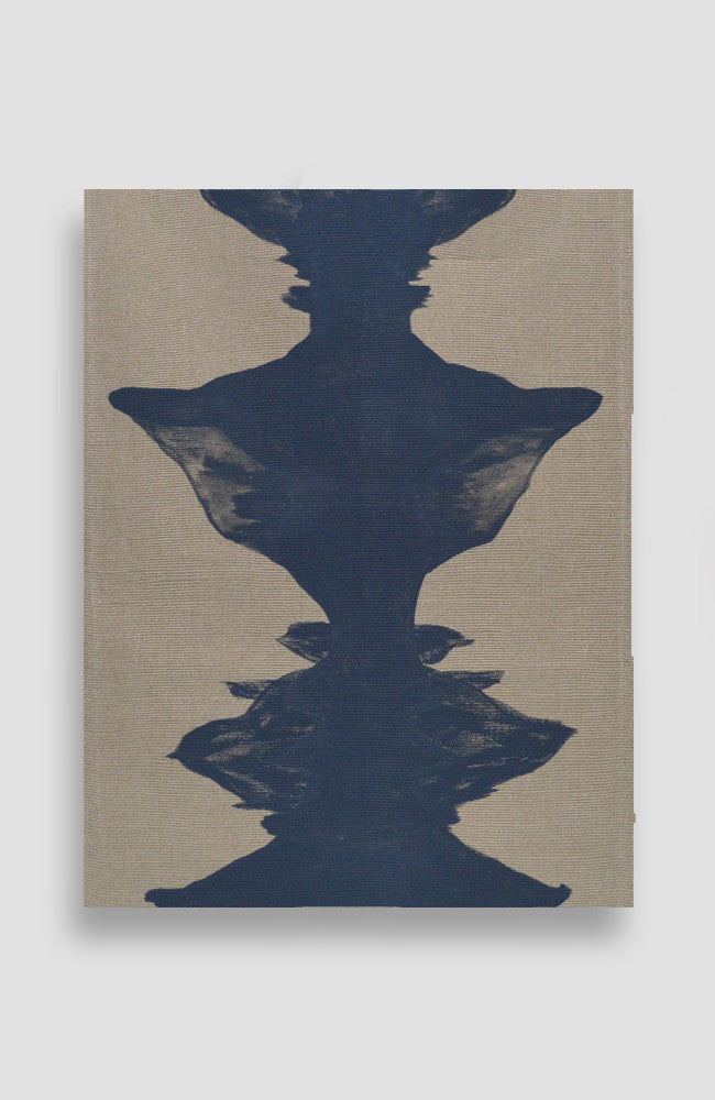 Natural Navy Ink Blot Rug - Belgian Linen - 33 x 24