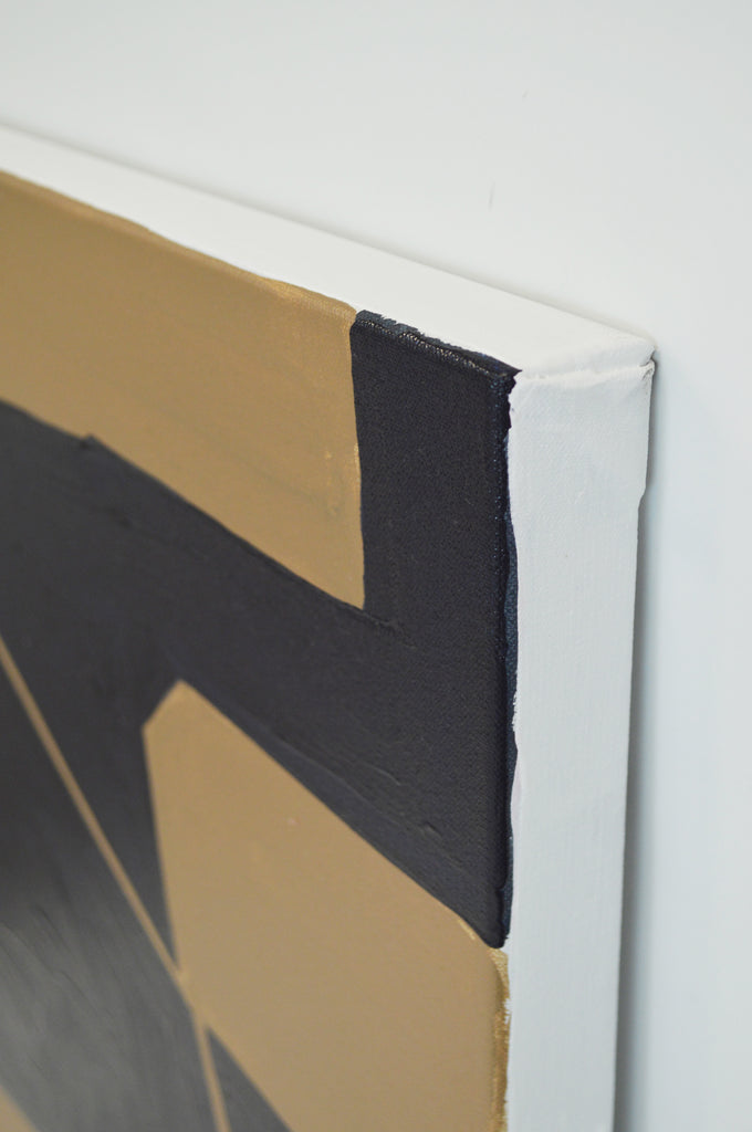 Navy and Gold Tectonic Canvas 24 x 36
