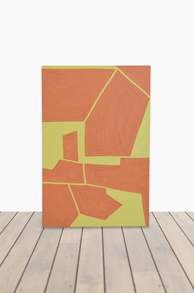 Orange and Chartreuse Tectonic Canvas 24 x 36