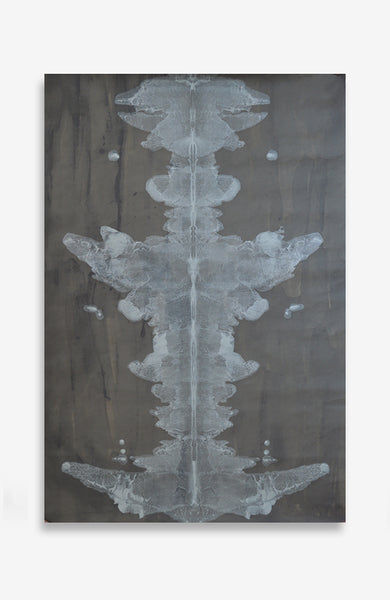 Charcoal and Argent Ink Blot Roll - Acrylic Ink on Japanese Paper - 4 foot roll