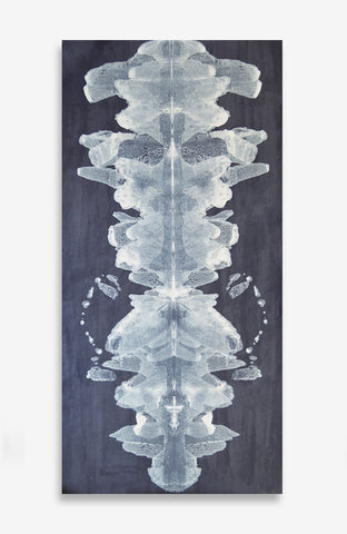 Bleu Creme Ink Blot Roll - Acrylic Ink on Japanese Paper - 6 foot roll