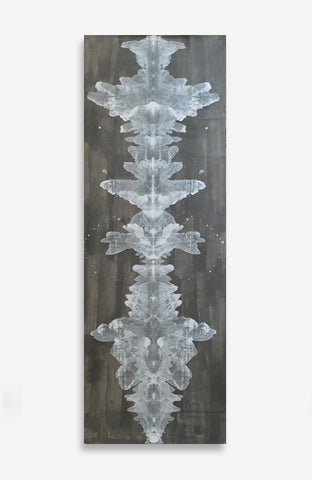 Charcoal and Creme Ink Blot Roll - Acrylic Ink on Japanese Paper - 9 foot roll