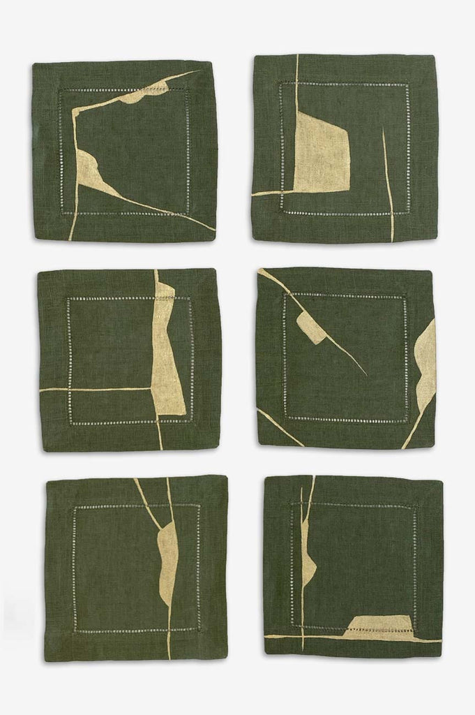 Sage Kintsugi Cocktail Napkins - Set of Six