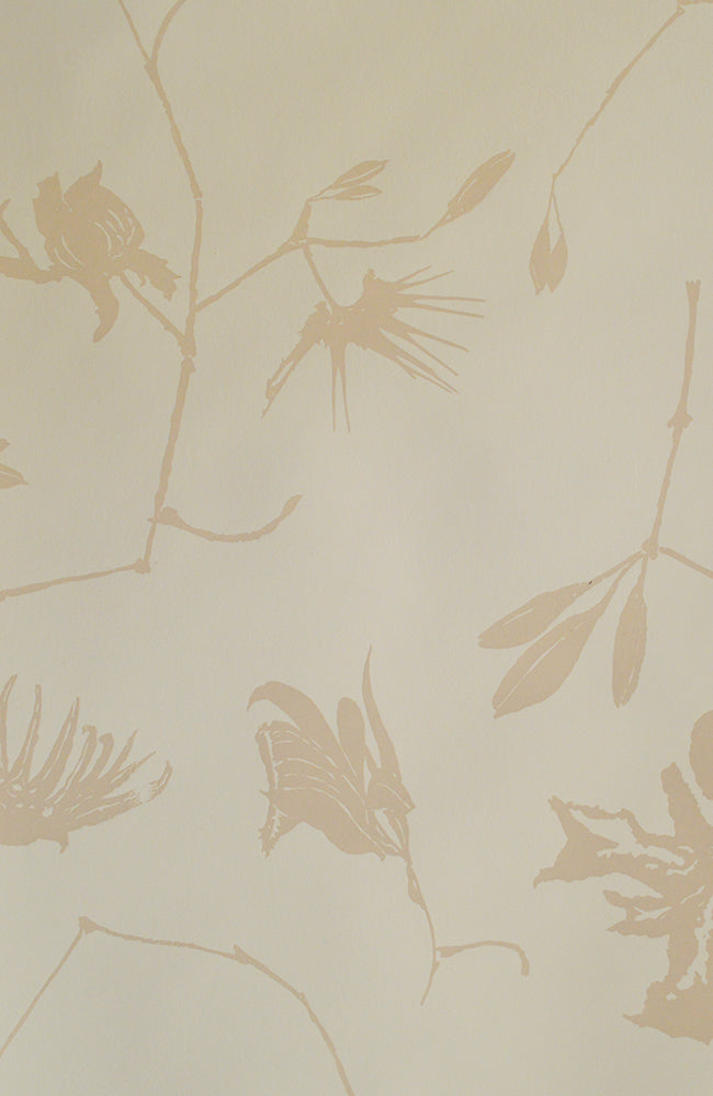 Créme Orchids in Negative Space - Handprinted - Multiple Lengths Available