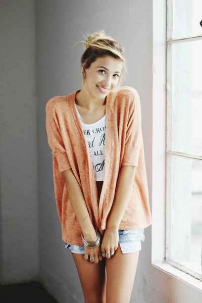Pepper Sweater Box Cardigan / Peach