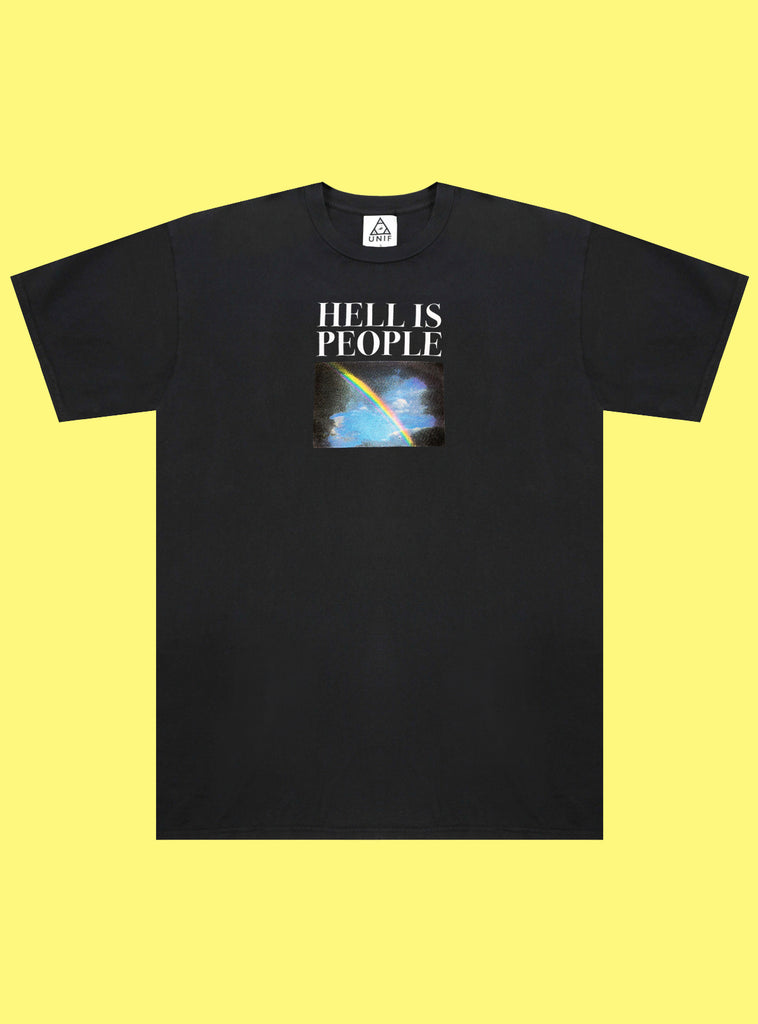 "UNIF Hell is People Tee. Black crew neck t-shirt with ""Hell Is People"" and rainbow graphic printed on front. Unisex style, 100% Cotton, Made in the USA."