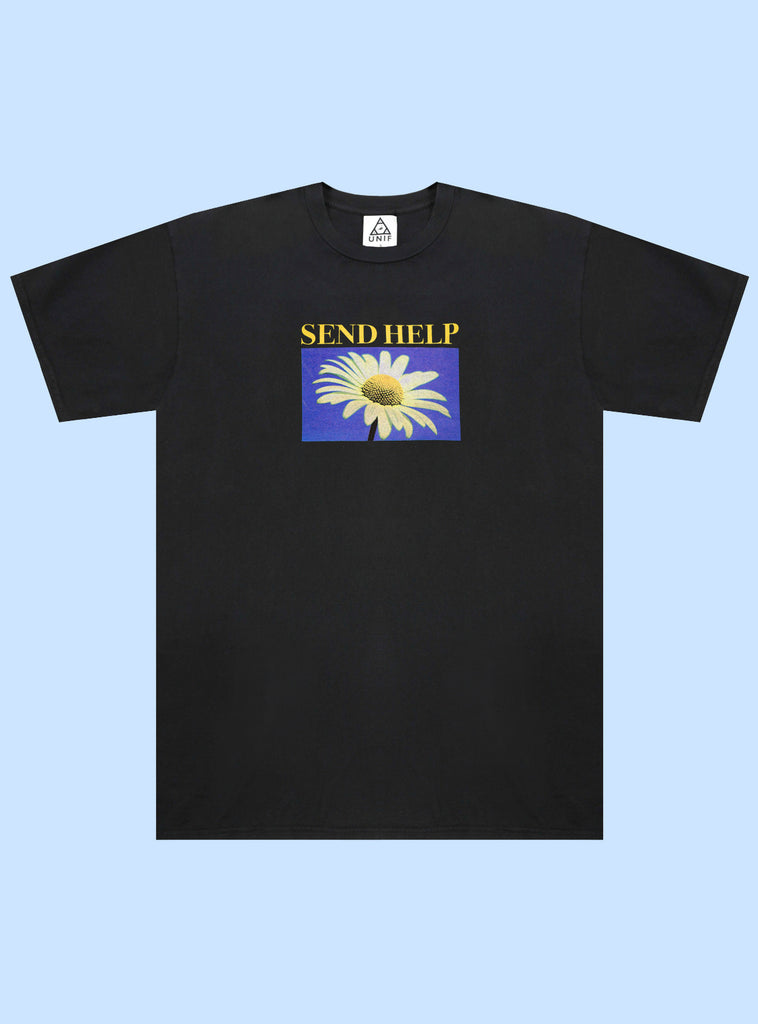 "UNIF Send Help Tee. Black unisex crew neck t-shirt with ""Send Help"" and daisy graphic printed on front. 100% Cotton, Made in the USA"