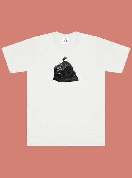 UNIF Donald Trump Tee - White crew neck tee with printed garbage bag on front. Unisex style. 100% Cotton, made in the USA.