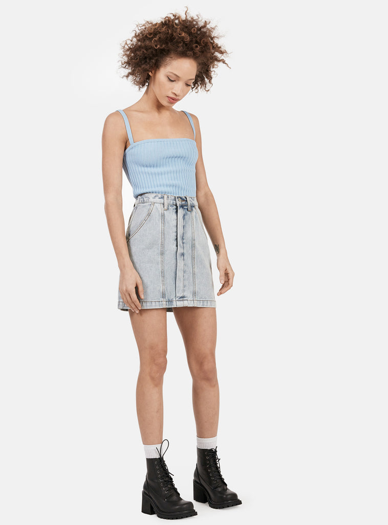 UNIF Women's Prix Skirt in light blue denim wash. 100% cotton
