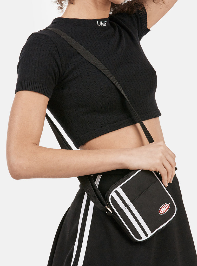 UNIF Mel Bag - Square shaped shoulder bag with front flap pocket and zip main compartment.