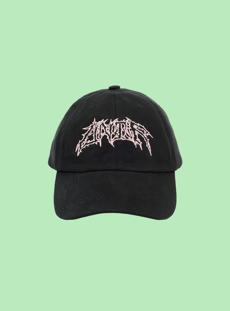 UNIF Metal Logo Hat in black, unstructured Dad cap with opalescent lurex embroidery on the front