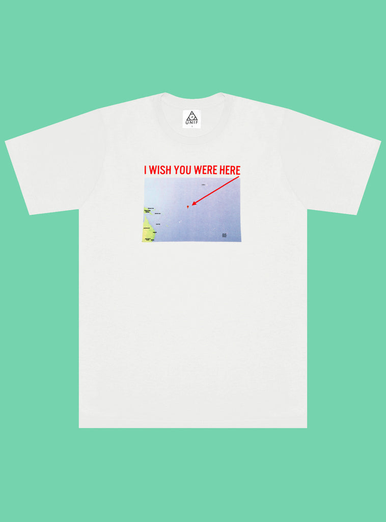 UNIF I Wish You Were Here tee. White crew neck tee with map print on front. Made in the USA. 100% Cotton. Unisex style