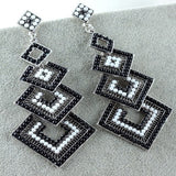 Black Long Fashion Crystal Chandelier Earrings Square Shape Dangle Womens