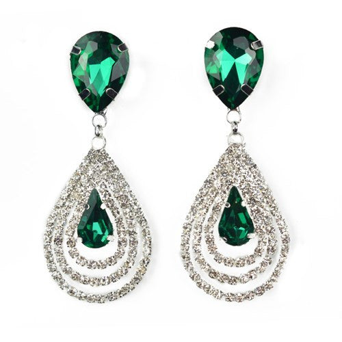 Green Ocean Big Crystal Stone Silver Earrings Water Drop Rhinestone Womens