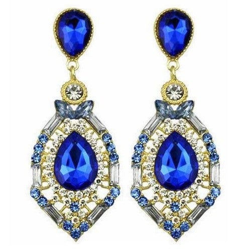 Teardrop Crystal Chandelier Earrings Womens Ocean Blue Big Drop Jewelry