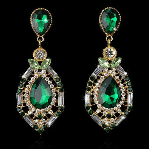 Teardrop Crystal Chandelier Earrings Womens Ocean Green Big Drop Jewelry