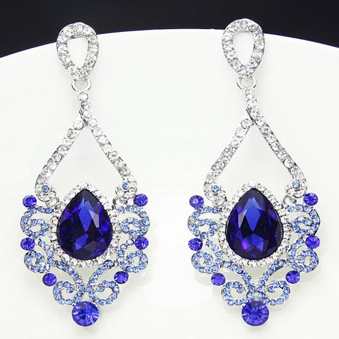 Fashion Jewelry Women Drop Earrings Blue Rhinestone Silver Plated Chandelier