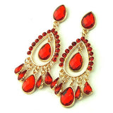 Red Glass Crystal Water Drop Bridal Chandelier Dangle Earrings Womens Jewelry