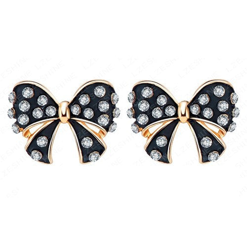 Womens Black Bowknot Earrings Enamel Stud 18K Rose Gold Plate Austrian Crystal