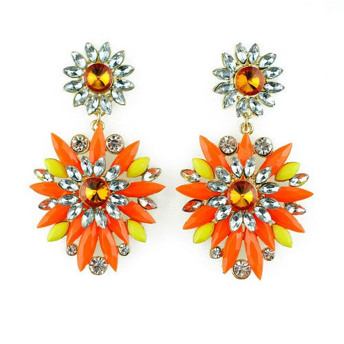 Orange Neon Earrings Fashion Jewelry Women Crystal Resin Flower Drop Crystal