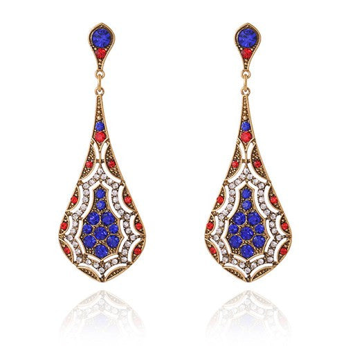 Tibetan India Ethnic Earrings Shiny Crystal Drop Women Red Purple Vintage