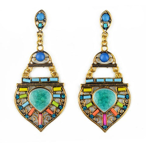Bohemian Brazil Earrings Fashion Vintage Crystal Gem Green Drop Earrings Tibetan
