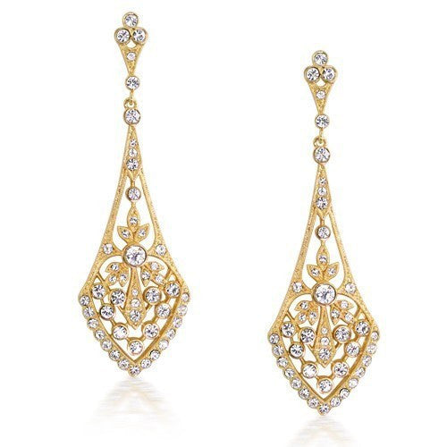 Trendy 18K Gold Plated Rhinestone Vintage Leaves Bridal Teardrop Earrings