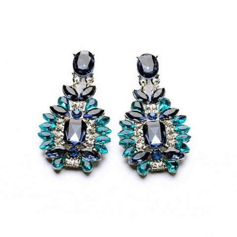 Brand Ethnic Jewelry Sapphire Crystal Flower Chandelier Dangle Earrings Fashion