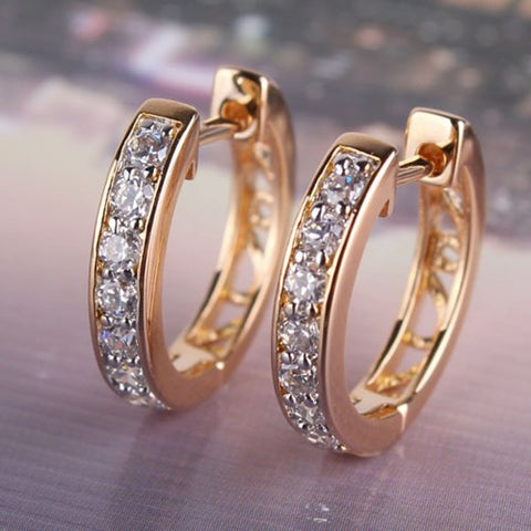 Gold Earrings Hoop Circle Plated Clear Crystals Zircon Earrings Womens Fashion