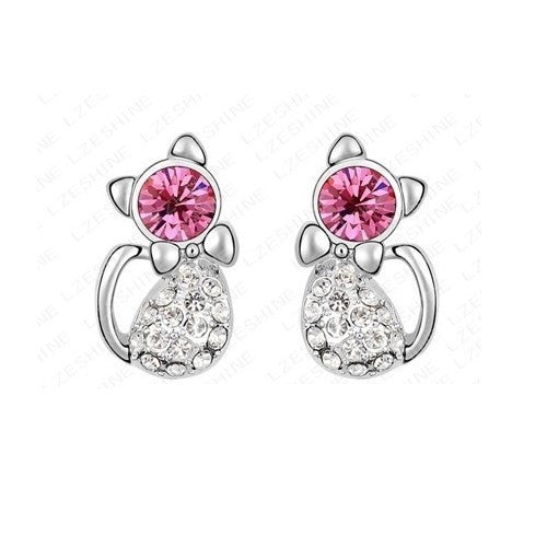 Poppy Fashion Platinum Plating Austrian Crystal Element Cat Studs Earrings